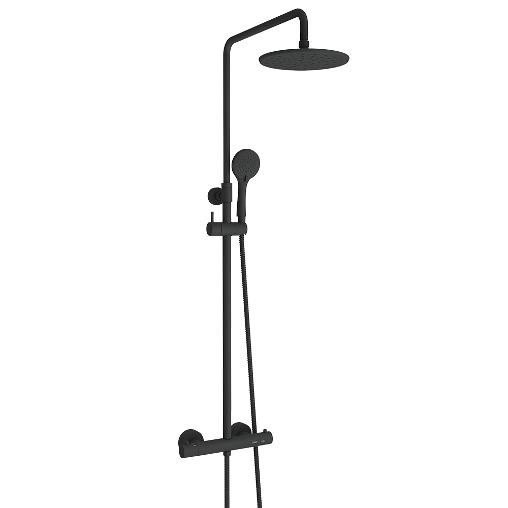 Deluxe dusjsett i fargen sort er en del av den fleksible baderomsløsningen fra Duxa