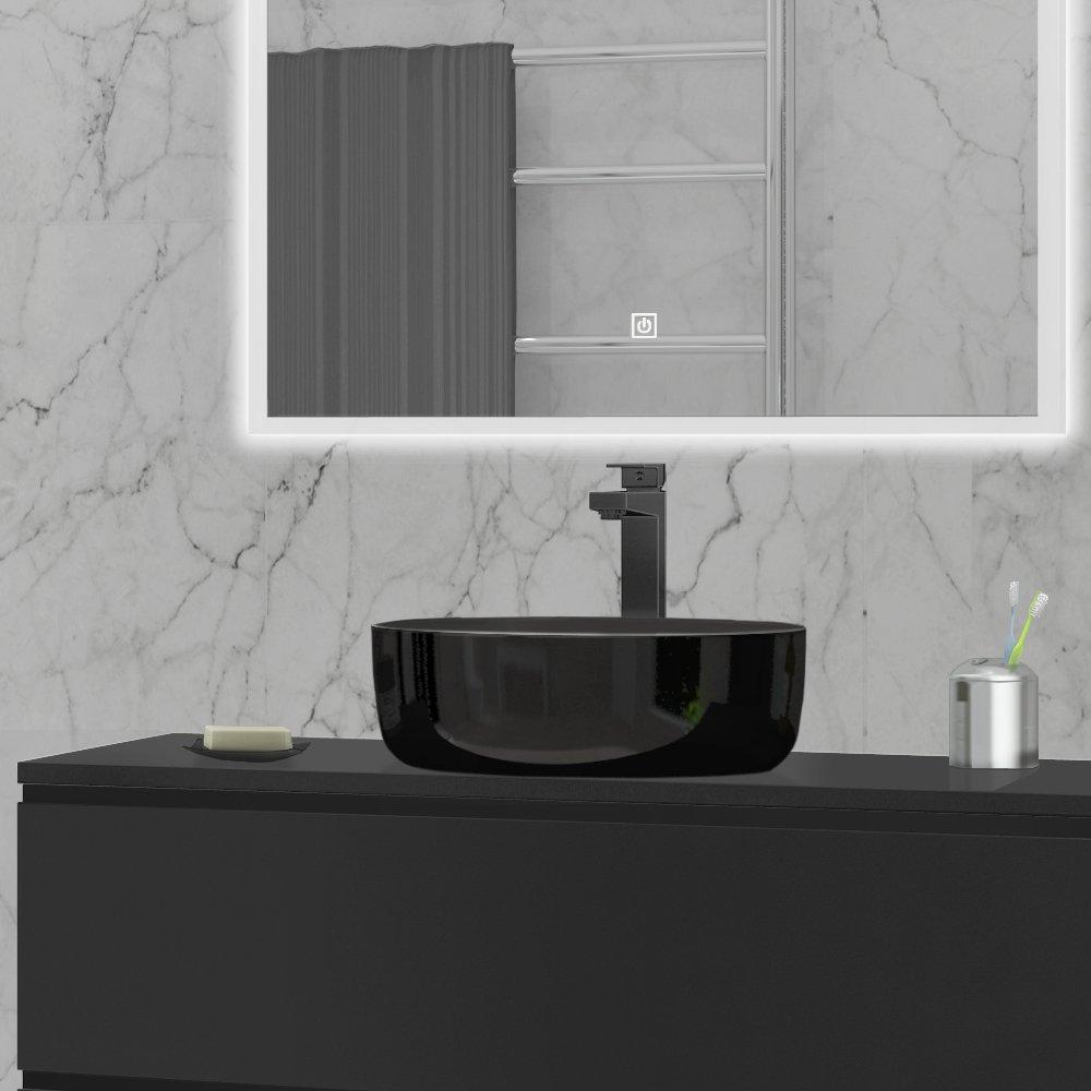 Toppmontert porselensvask Ø38 i fargen sort kan kombineres med Ella, Sara og Anna serien fra Duxa.
