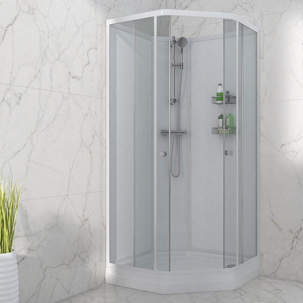 Hvit dusjkabinett i moderne design fra Duxa