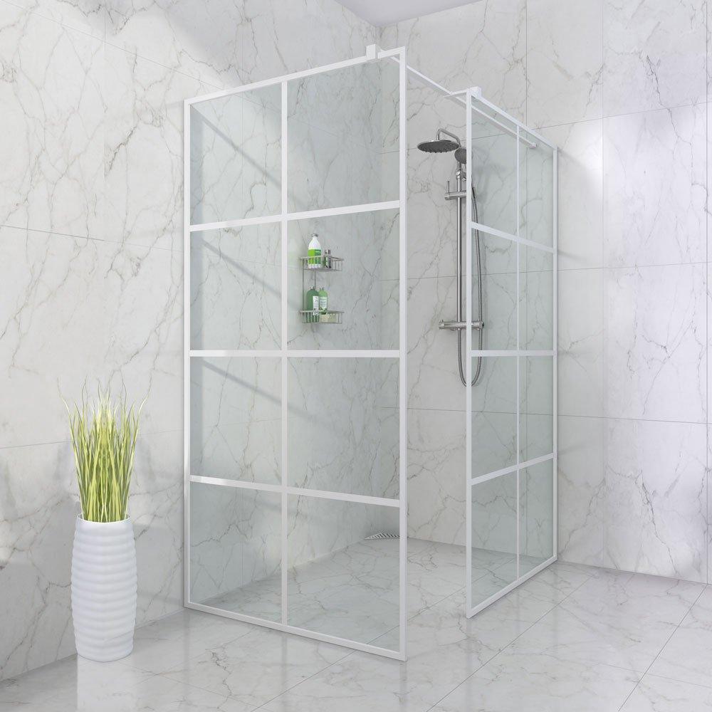 moderne dusjkabinett i hvit utgave fra Duxa