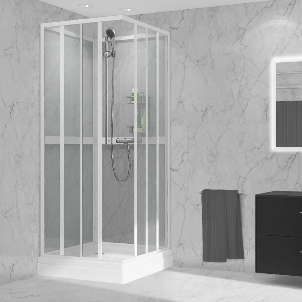 Enkelt og rommelig dusjkabinet i størrelse 80x80x200 cm eller 90x90x200 cm til deg som ønsker ett fint og moderne dusjkabinett.