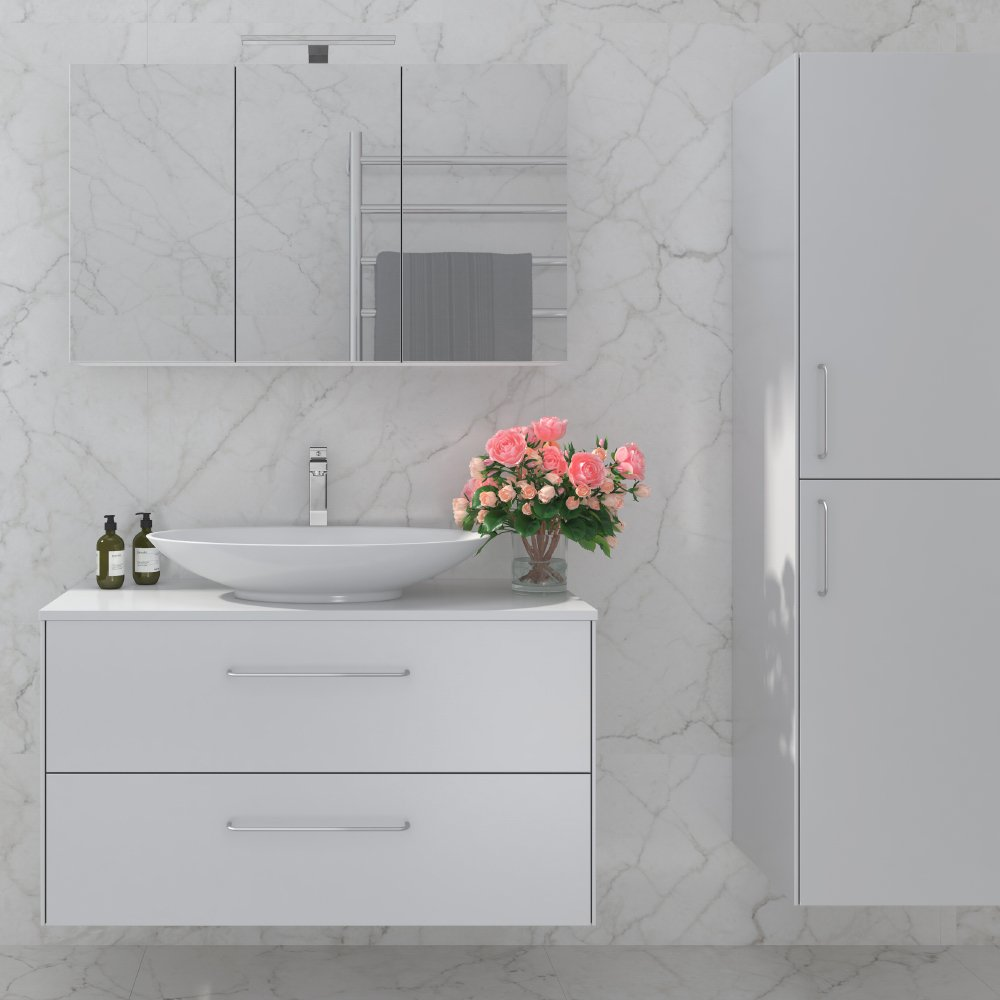 Ella baderomsmøbel i matt hvit er en del av Duxas fleksible baderomsløsning. Det finnes flere kombinasjonsalternativer for håndtak og fem forskjellige Hype toppvasker.