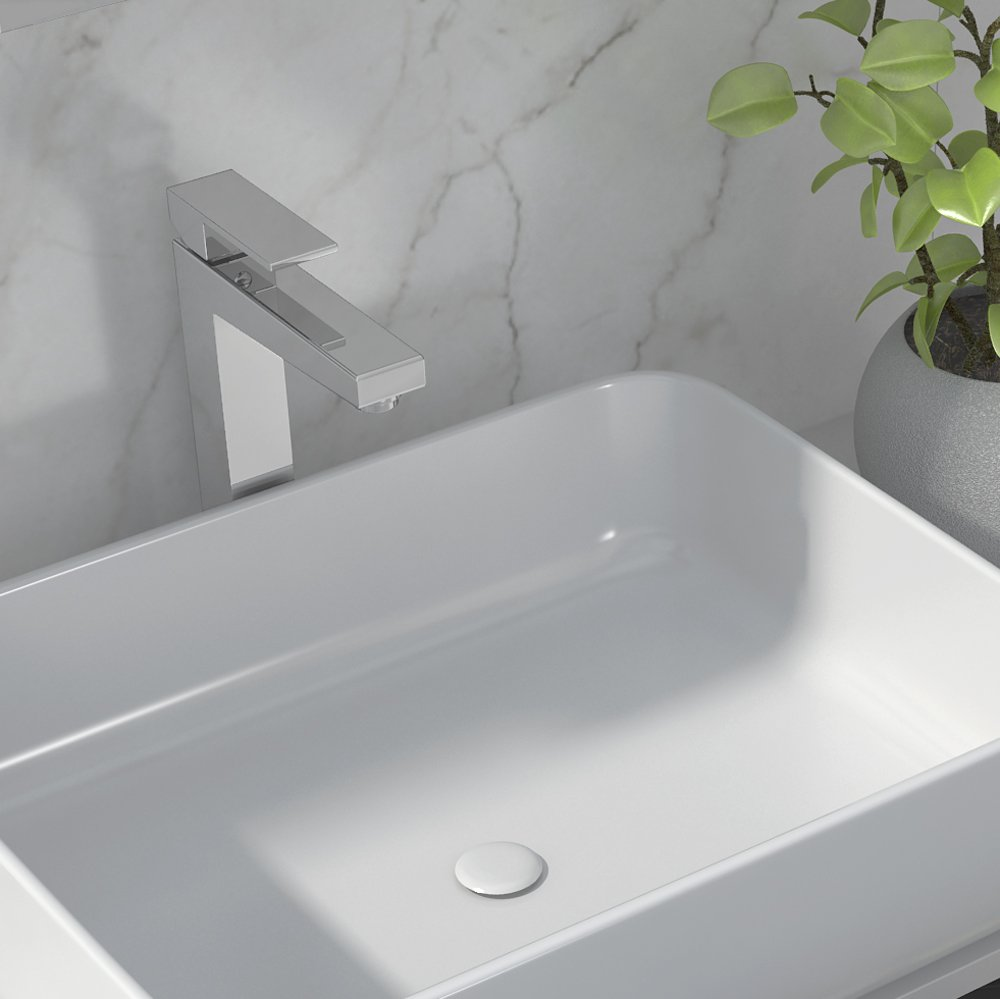 Toppmontert hvit rektangulær porselensvask kan kombineres med Ella, Sara og Anna serien fra Duxa.