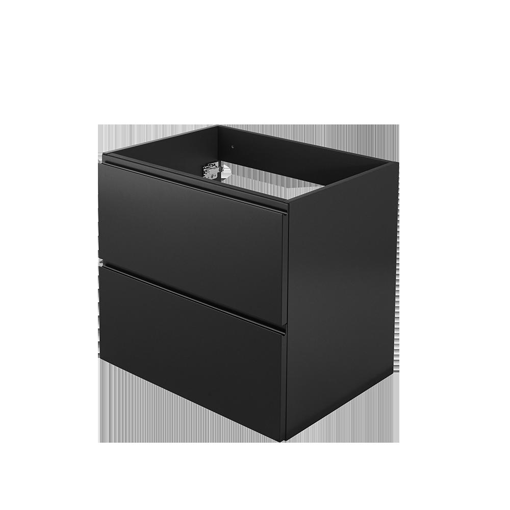 Baderomsmøbel i fargen svart uten synlige håndtak fra Duxa