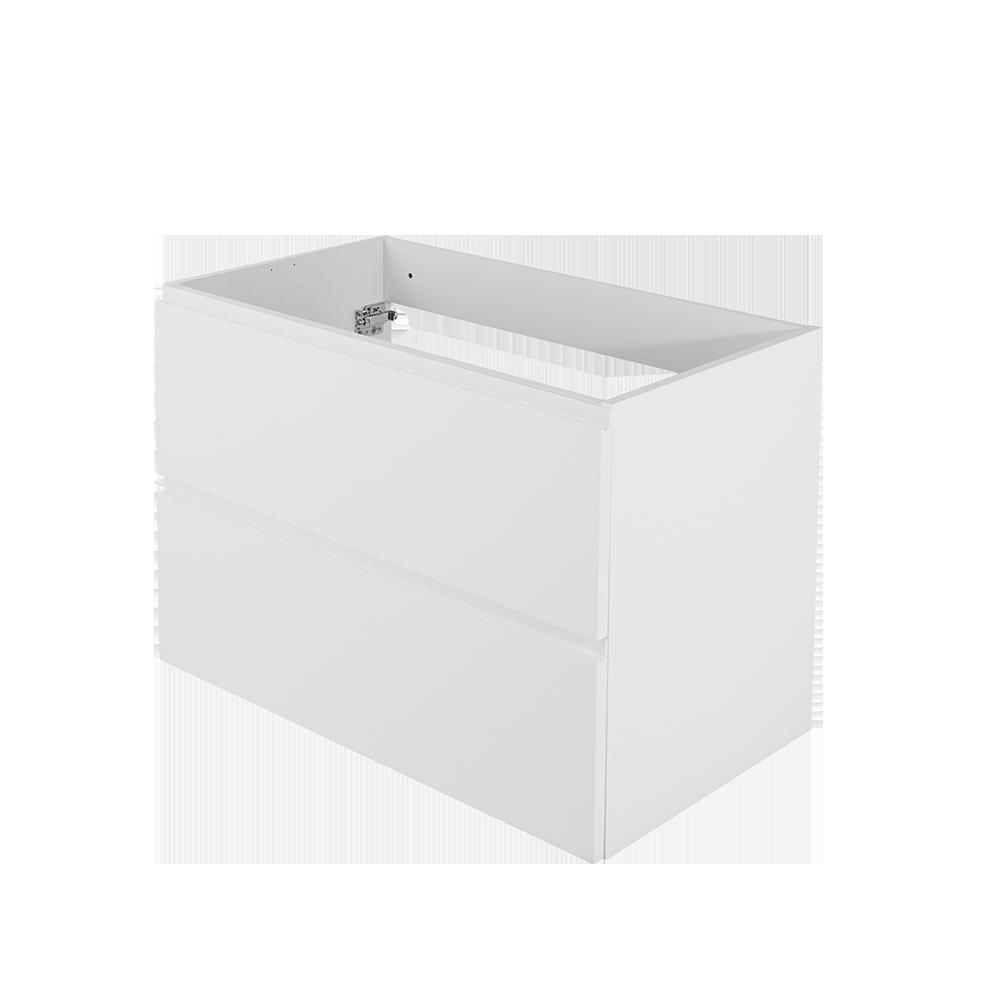 Baderomsmøbel i fargen hvit uten synlige håndtak fra Duxa