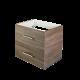 Baderomsmøbel i eik med forkrommet håndtak fra Duxa