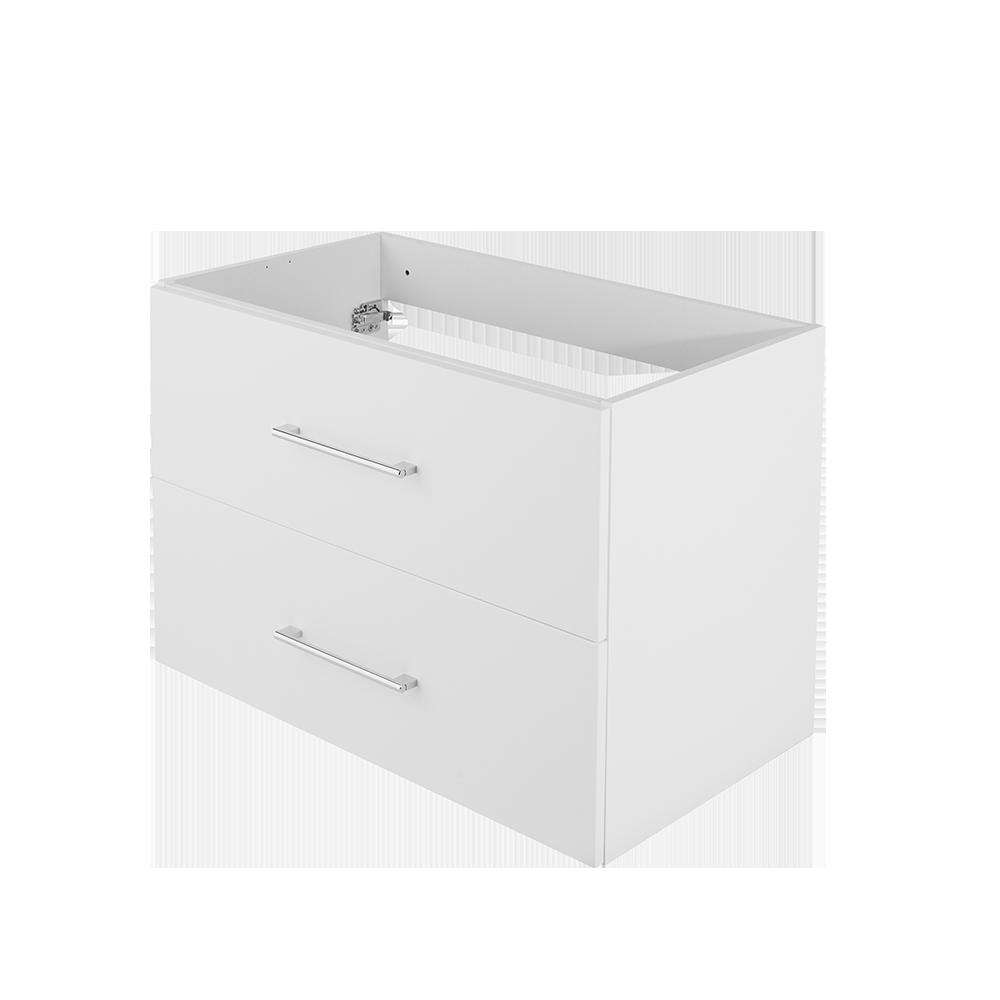 Baderomsmøbel i hvit med forkrommet håndtak fra Duxa