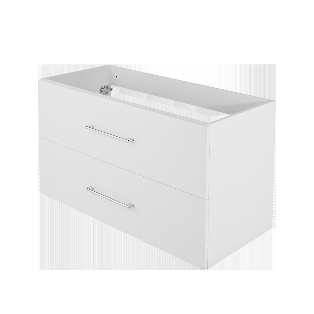 Baderomsmøbel i fargen hvit og forkrommet håndtak fra Duxa