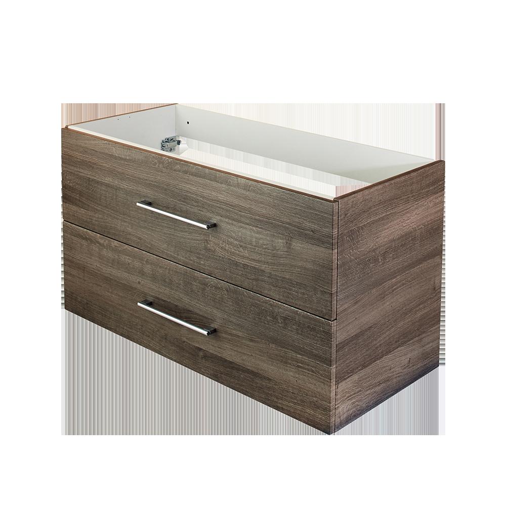 Duxas Anna baderomsmøbel i foliert eik er en del av den fleksible baderomsløsningen hvor du kan velge mellom 5 forskellige Hype toppvasker fra Duxa
