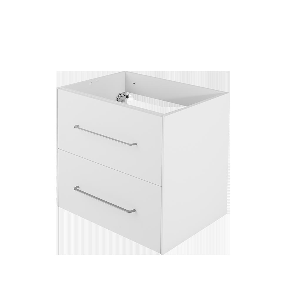 Hvit baderomsmøbel fra Duxa med forkrommet håndtak