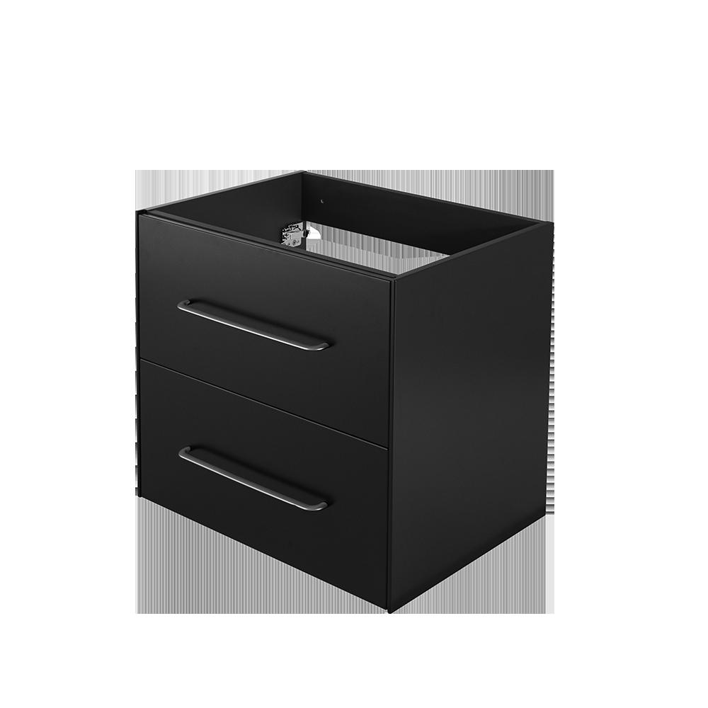 Ella baderomsmøbel i sort grafitt er en del av Duxas fleksible baderomsløsning. Der finnes flere kombinasjonsalternativer for blant annet håndtak og fem forskjellige Hype toppvasker.