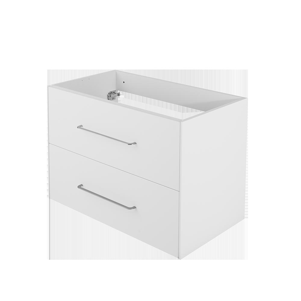 Ella baderomsmøbel i matt hvit er en del av Duxas fleksible baderomsløsning. Her er det flere kombinasjonsalternativer for blant annet håndtak og fem forskjellige Hype toppvasker.