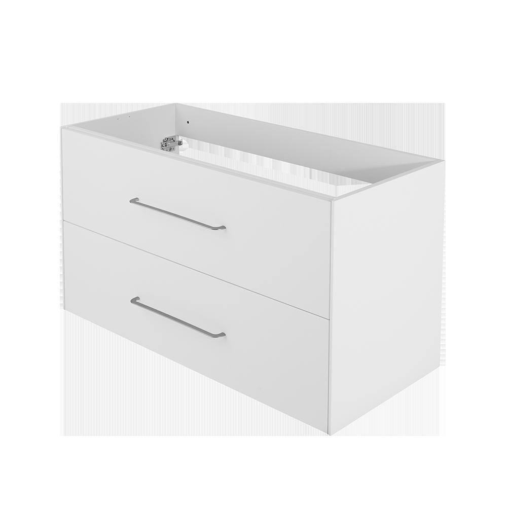 Ella baderomsmøbel i matt hvit er en del av Duxas fleksible baderomsløsning. Det er flere kombinasjonsalternativer for blant annet håndtak og fem forskjellige Hype toppvasker.