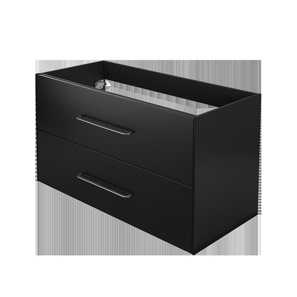 Ella baderomsmøbel i grafitt sort er en del av Duxas fleksible baderomsløsning. Der er flere kombinasjonsalternativer for blant annet håndtak og fem forskjellige Hype toppvasker.
