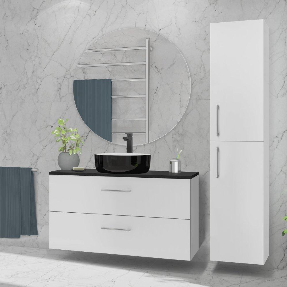 Rundt speil er en del av den fleksible baderomsløsningen fra Duxa.