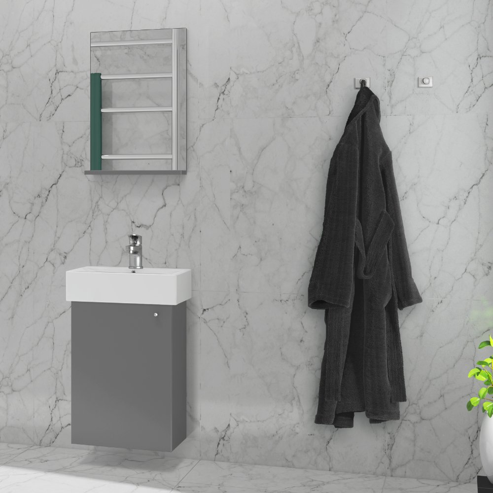 Duxa Urban mørk grå baderomsinnredning 44 cm. Alt-i-en løsning til mindre baderom.