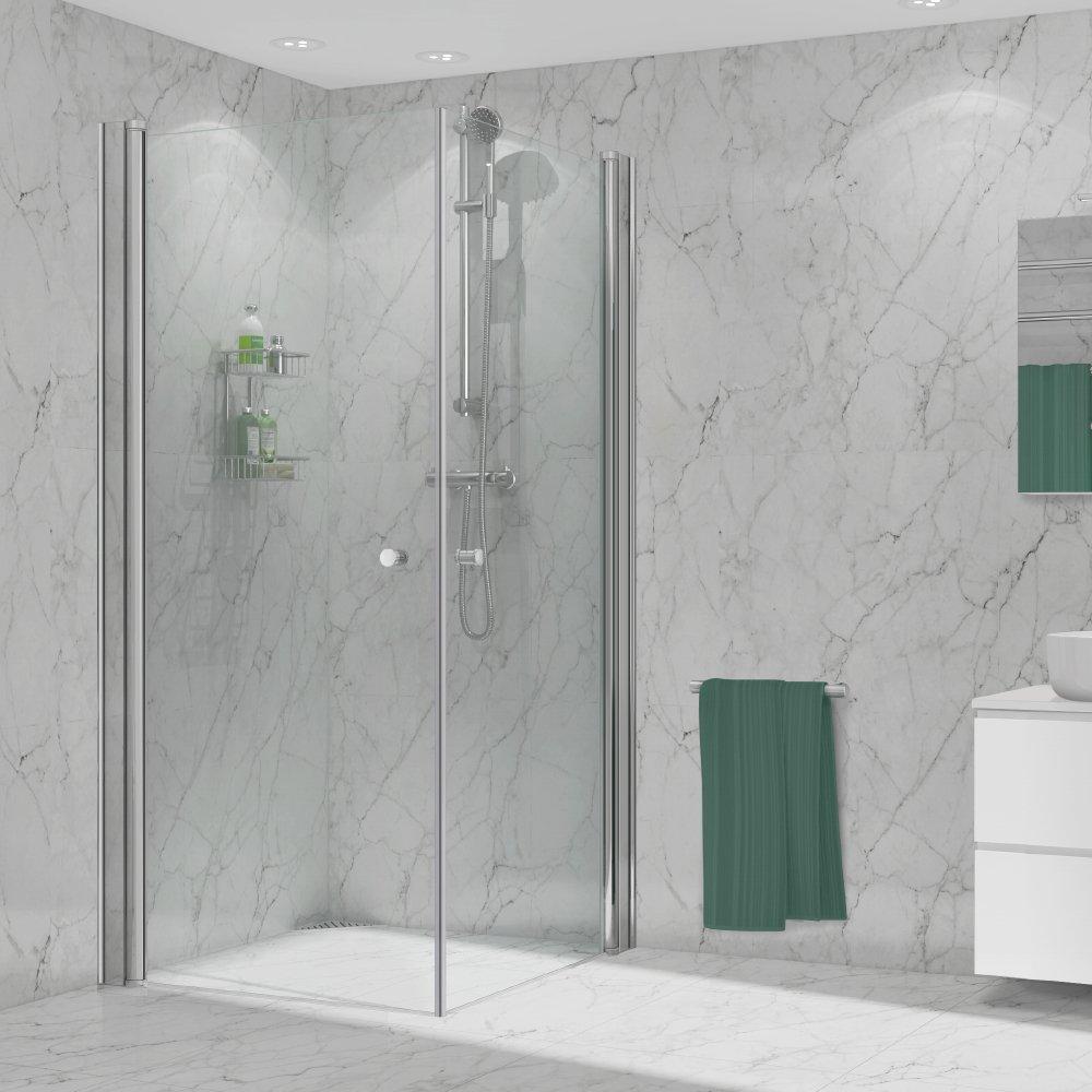 Rette dusjdører i størrelse 90x90x190 cm med hev/senk funksjon og klart glass.