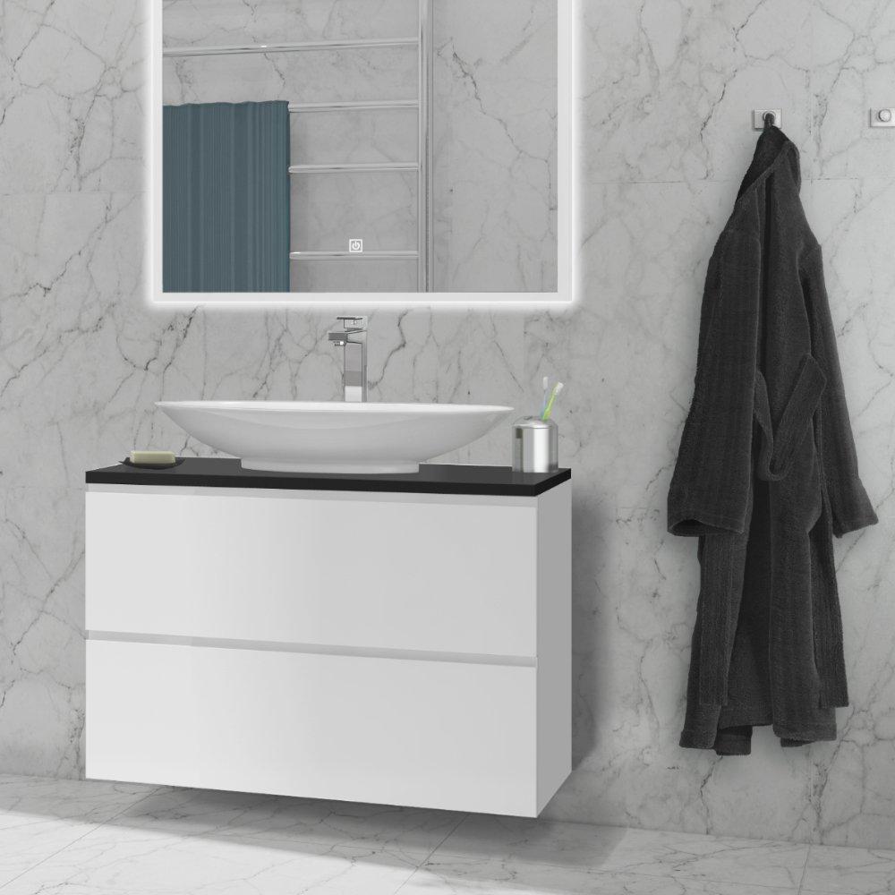Sara baderomsmøbel i matt hvit fra den fleksible baderomsløsningen.