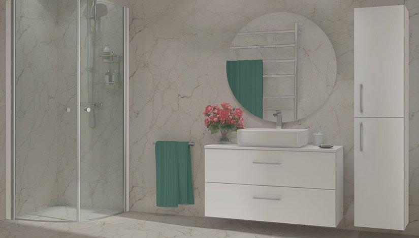 Duxa Anna baderomsmøbel i hvit utseende med forkrommet håndtak og kran og speil