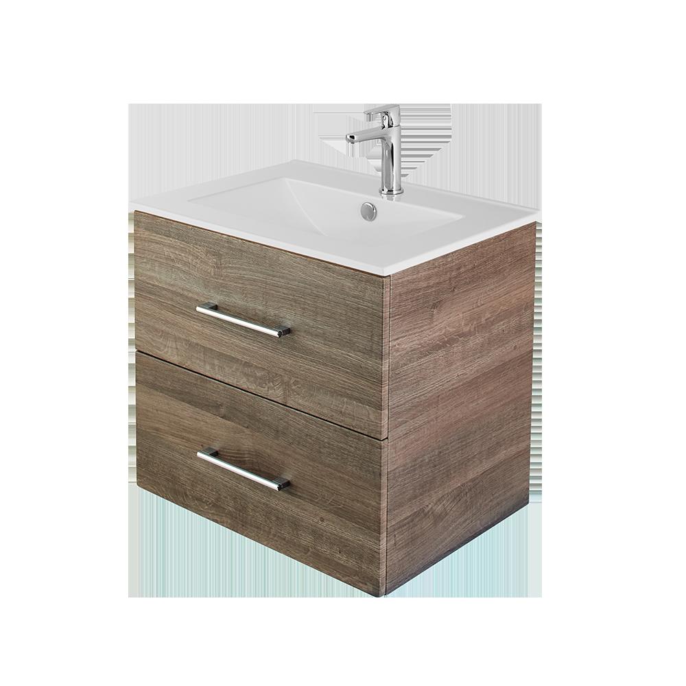 Anna 60 cm baderomsmøbel i eik med hvit vask og forkrommet vannkran fra Duxa