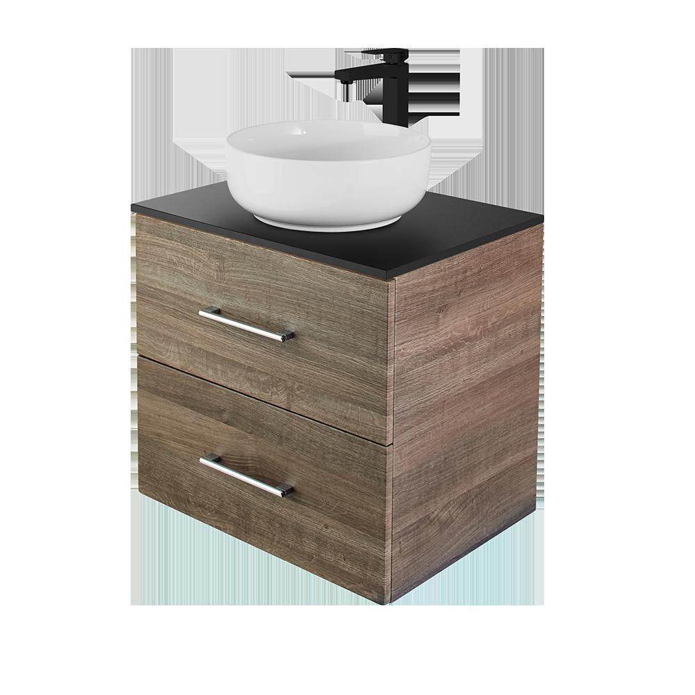 Anna baderomsmøbel i eik med hvit vask og svart kran fra Duxa