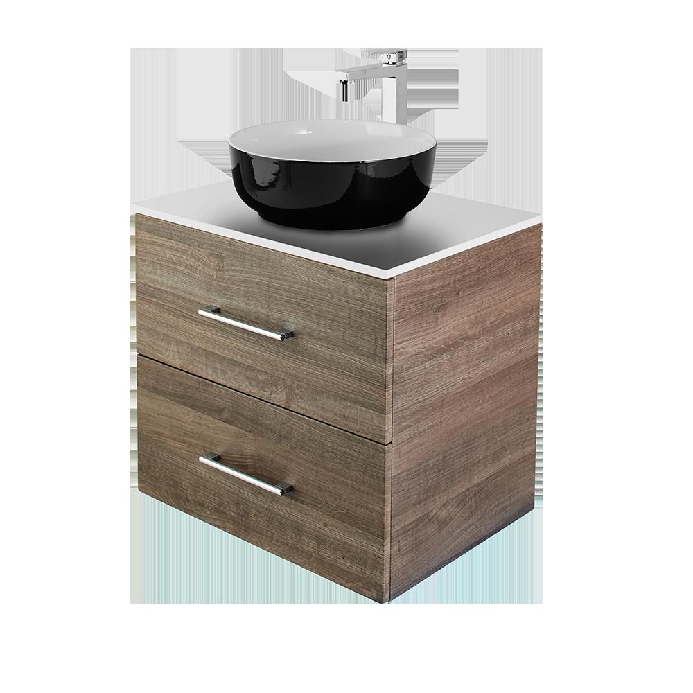 Anna baderomsmøbel i eik med vask i svart med forkromet kran fra Duxa