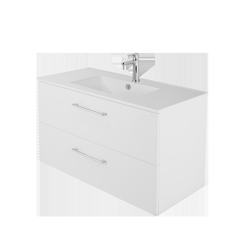 Duxa Anna 100cm baderomsmøbel i hvit utseende med helvask, forkrommet håndtak og kran