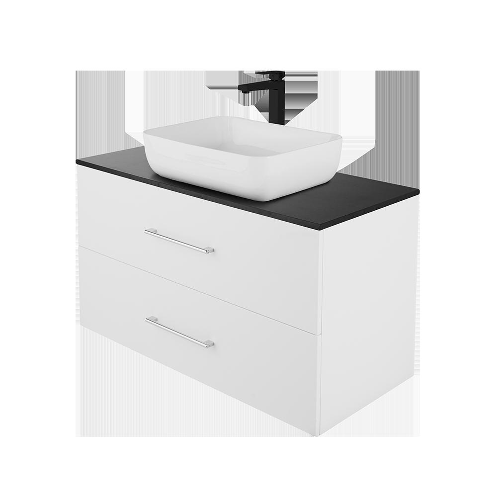 Anna 100 cm baderomsmøbel fra Duxa i hvit utgave med svart kran og kvadrat servant og forkrommet håndtak