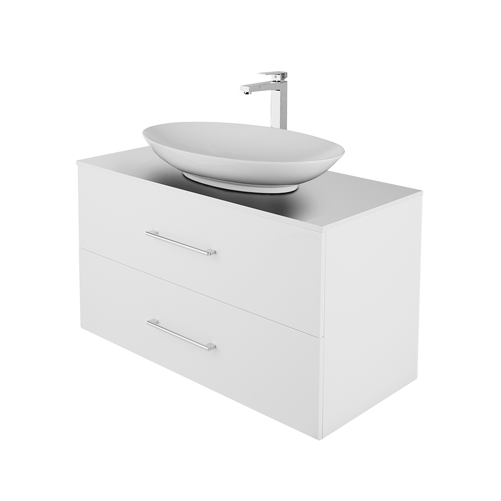 Anna 100 cm baderomsmøbel i hvit utgave med forkrommet kran og hvit servant