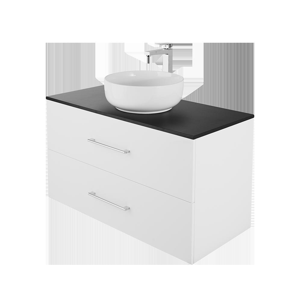 Anna 100 cm baderomsmøbel med forkrommet kran og svart topplate