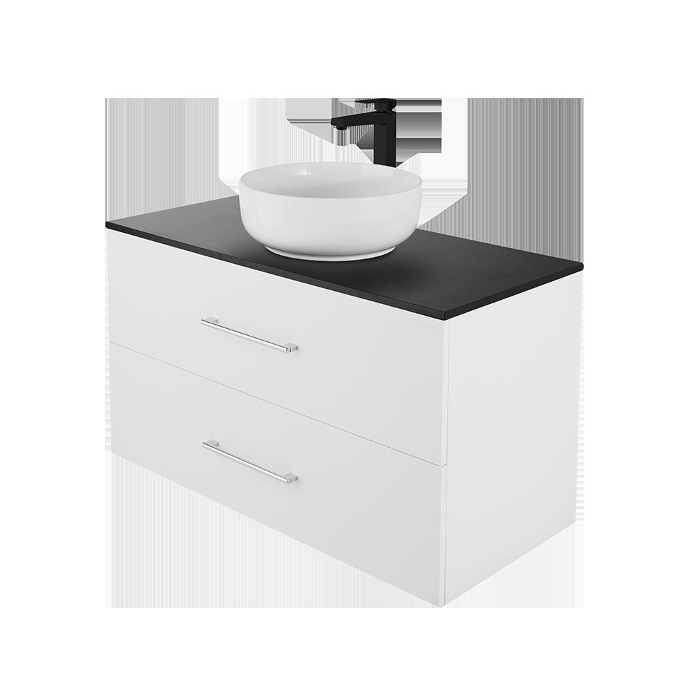 Anna 100 cm baderomsmøbel fra Duxa i hvit utgave med svart kran og hvit vask og forkrommet håndtak