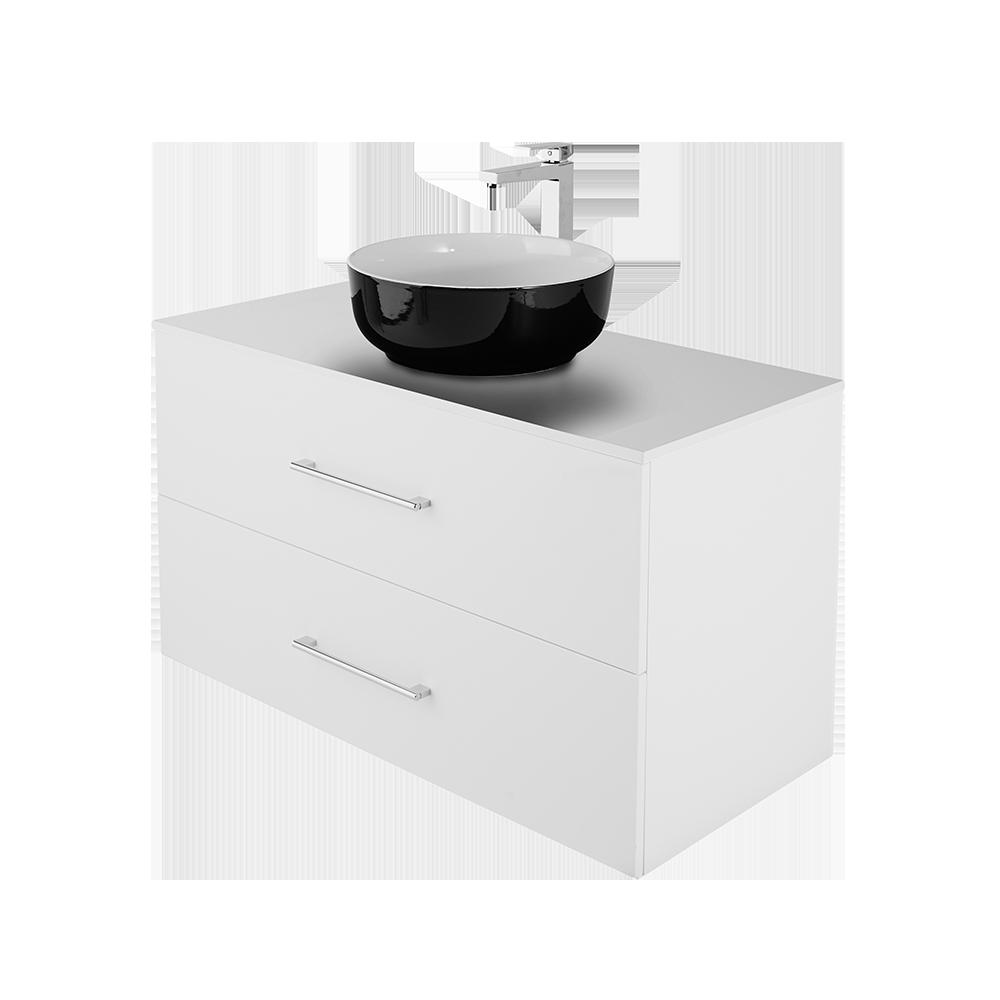 Anna 100 cm baderomsmøbel fra Duxa i hvit utgave med forkrommet kran og håndtak