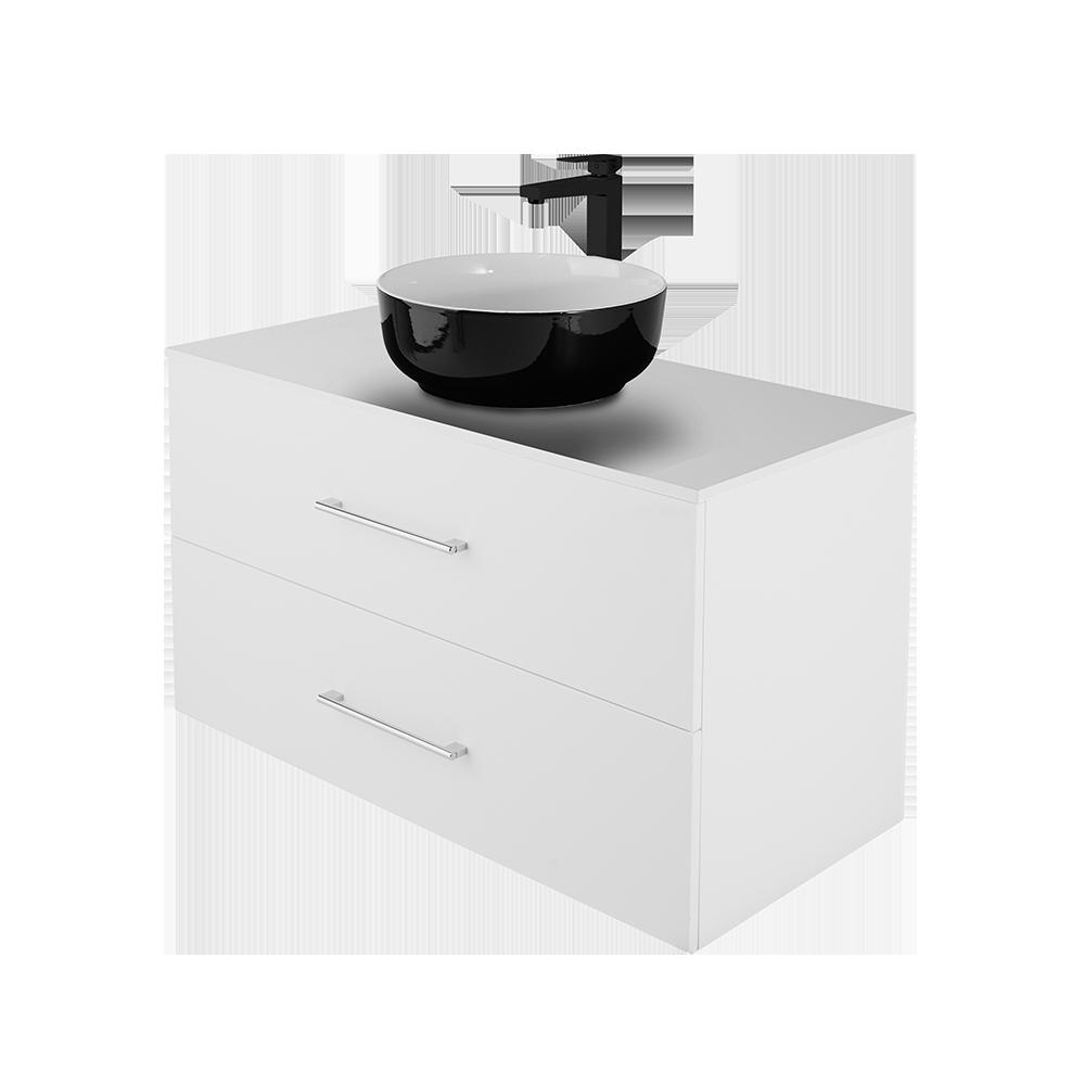 Anna 100 cm baderomsmøbel i hvit utgave med svart kran og forkrommet håndtak