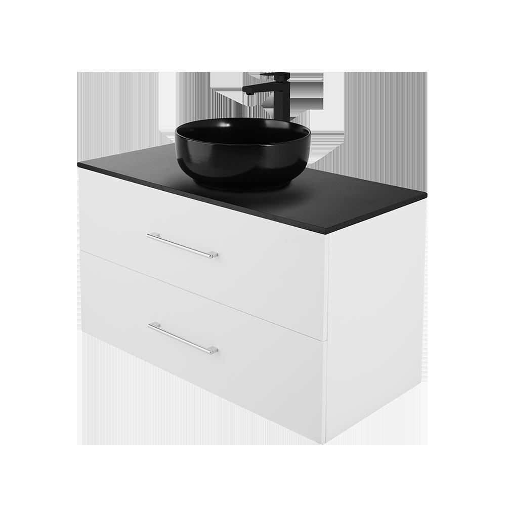 Anna 100cm baderomsmøbel i hvit utgave med svart kran og vask