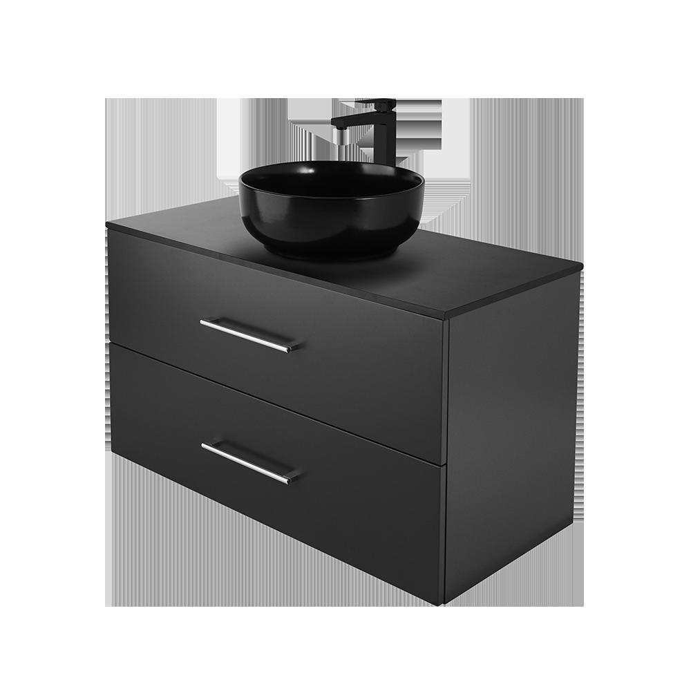 Anna 100cm baderomsmøbel i svart utgave med svart kran