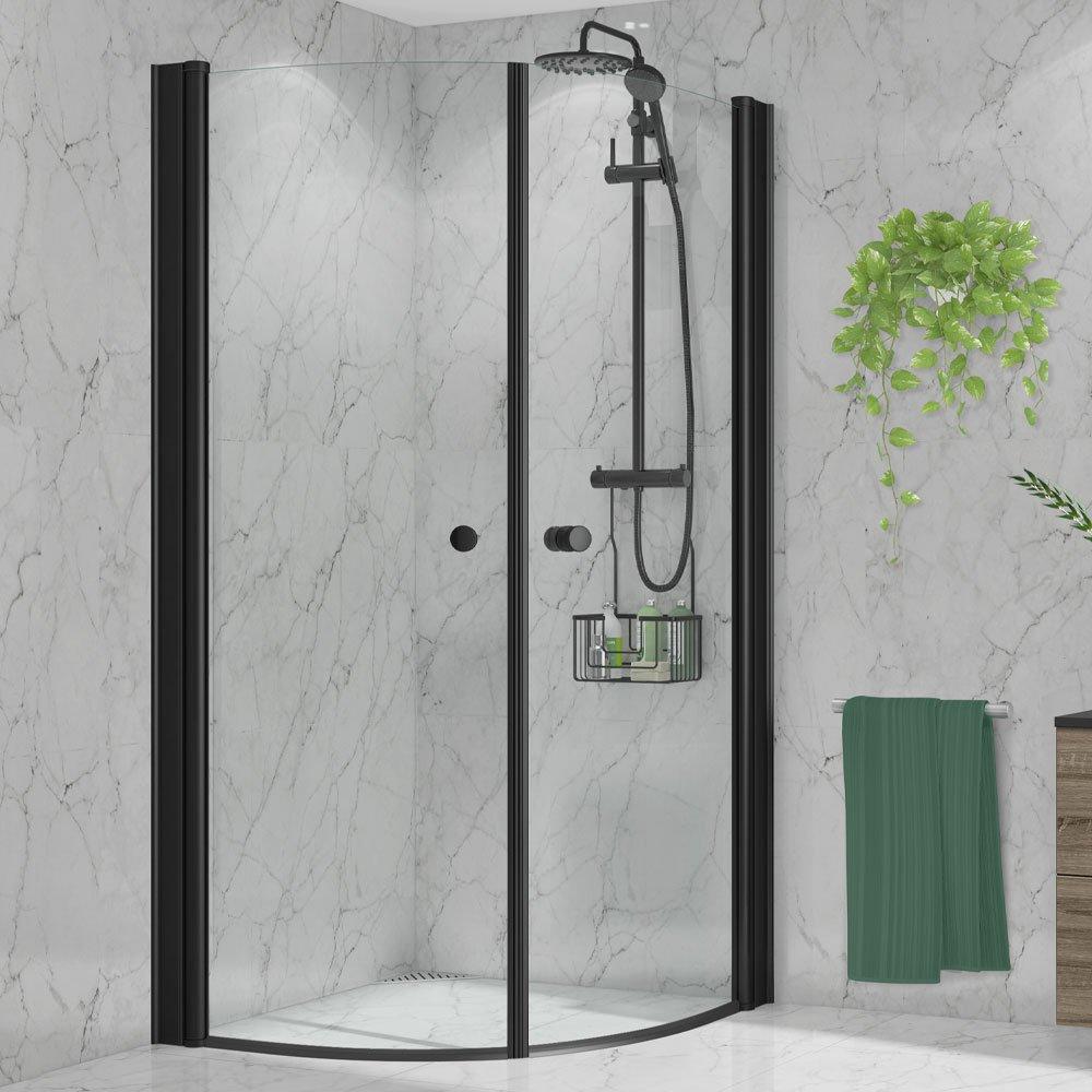 Duxa dusjdører i sort passer godt til Deluxe takdusjsett og svarte dusjkurver