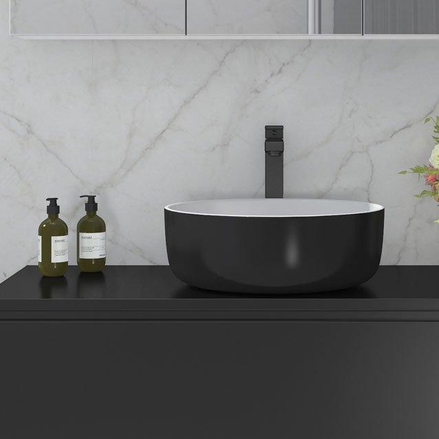 Blandebatteri Edge sort blandebatteri fra Duxa med sort håndvask og svart servantskap