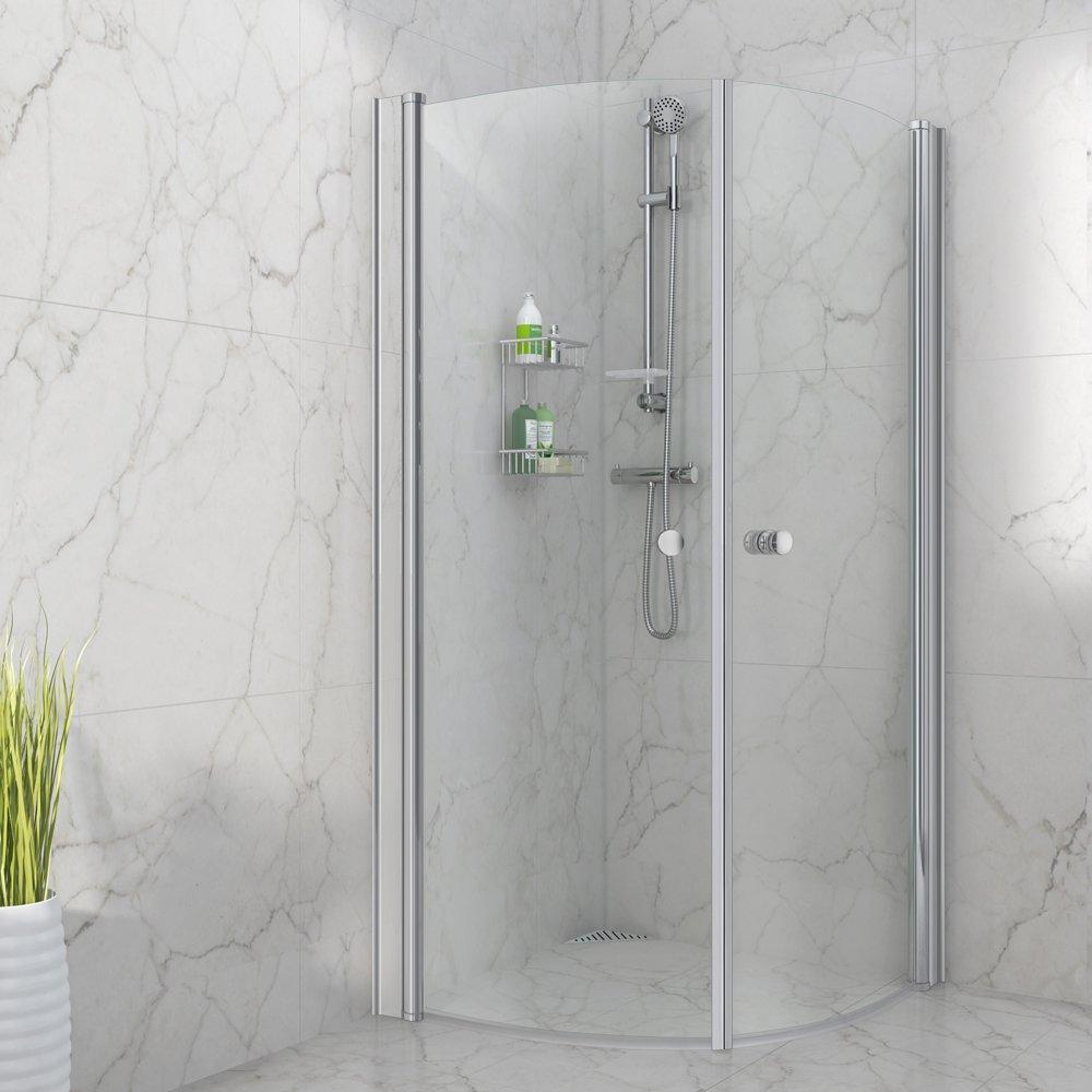 Buede dusjdører i størrelse 90x90x190 cm med hev/senk funksjon og klart glass.