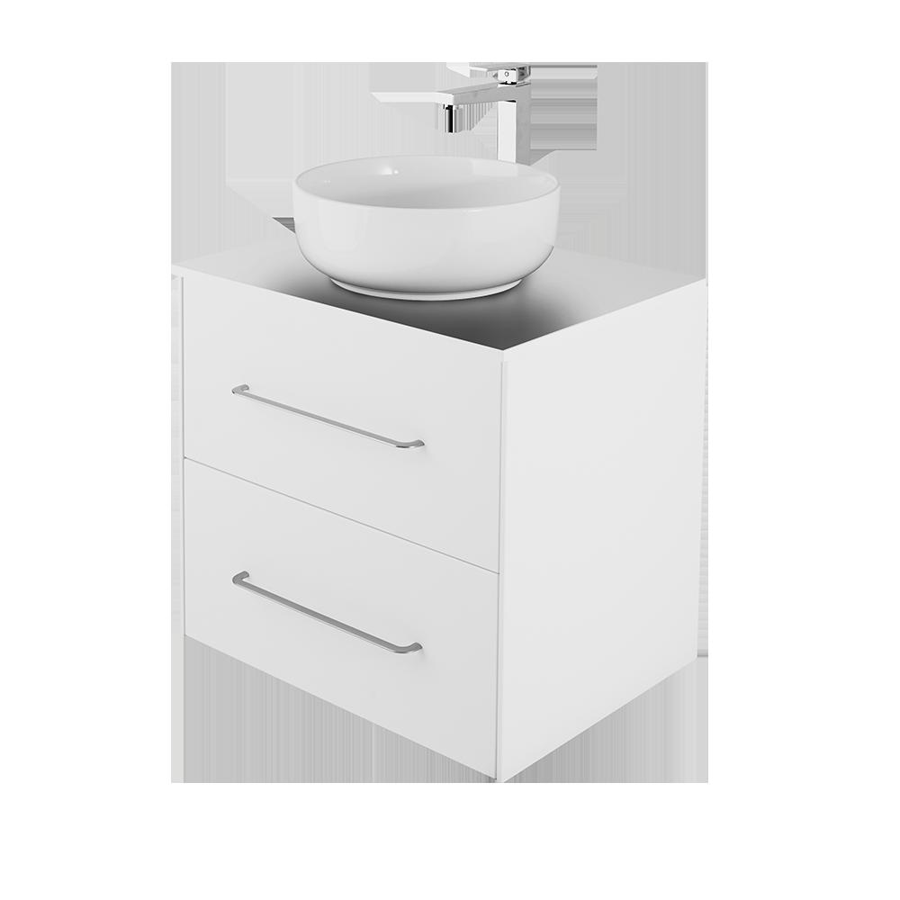 Ella 60 cm baderomsmøbel i hvit med hvit vask og forkromet vannkran