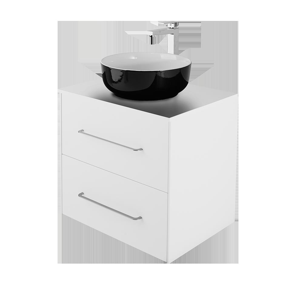 Ella 60 cm baderomsmøbel i hvit med svart vask og forkromet kran