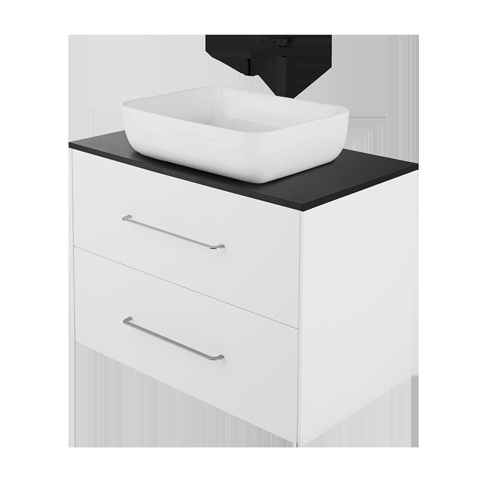 Ella baderomsmøbel og vask i fargen hvit og svart kran