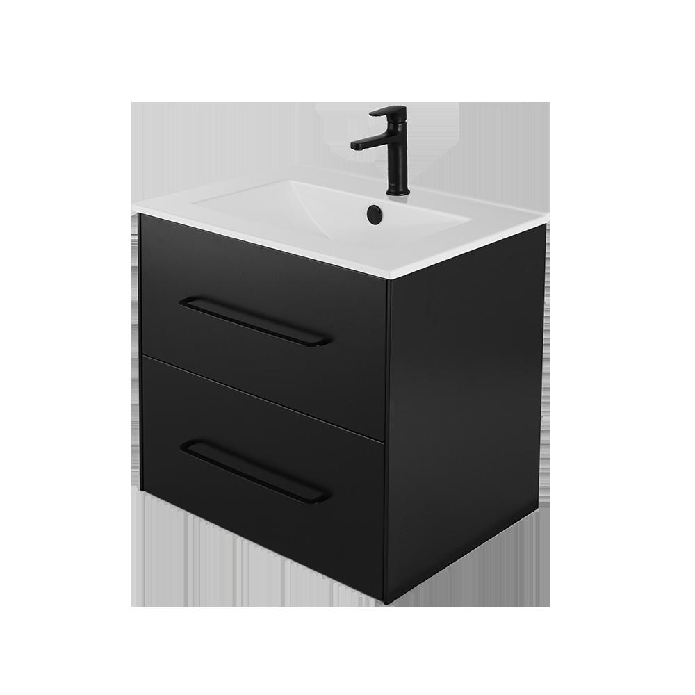 Ella baderomsmøbel 60 cm med vask og svart kran