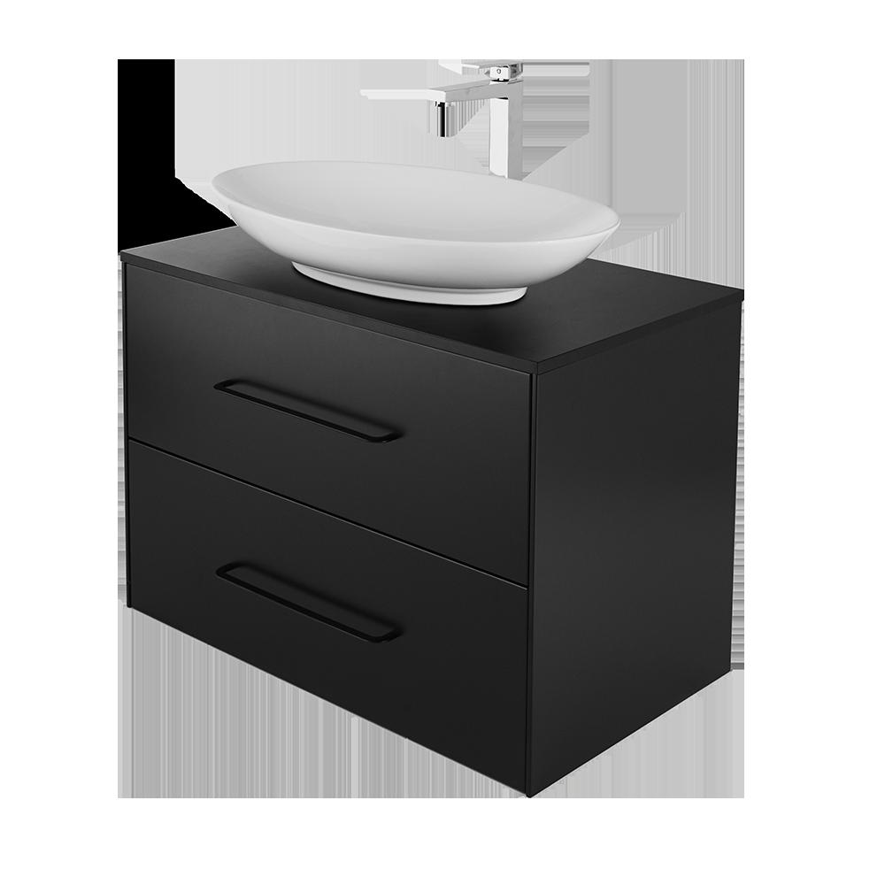 Ella 80 cm svart vask i hvit med forkromet vannkran