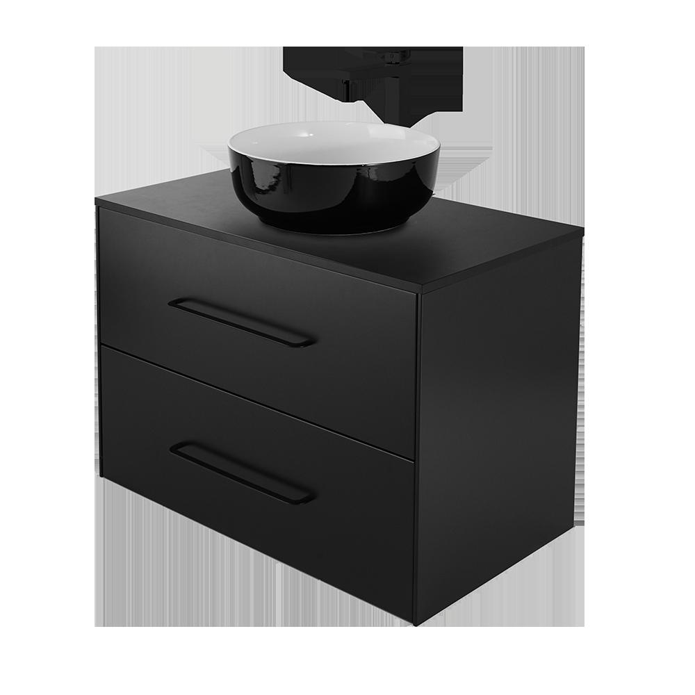 Ella 80 cm baderomsmøbel i fargen svart med sort vannkran