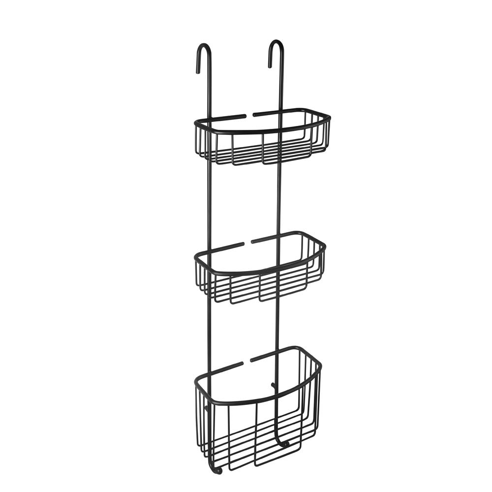 Matt sort dusjkurv med tre nivåer og faste kroker til å henges på dusjveggen.