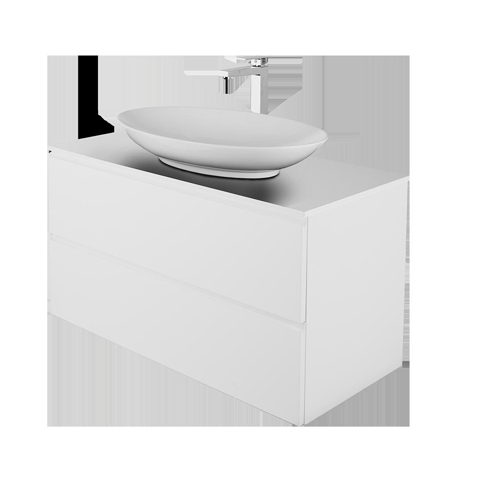 Sara 100cm baderomsmøbel i hvit med topvask og forkromet kran