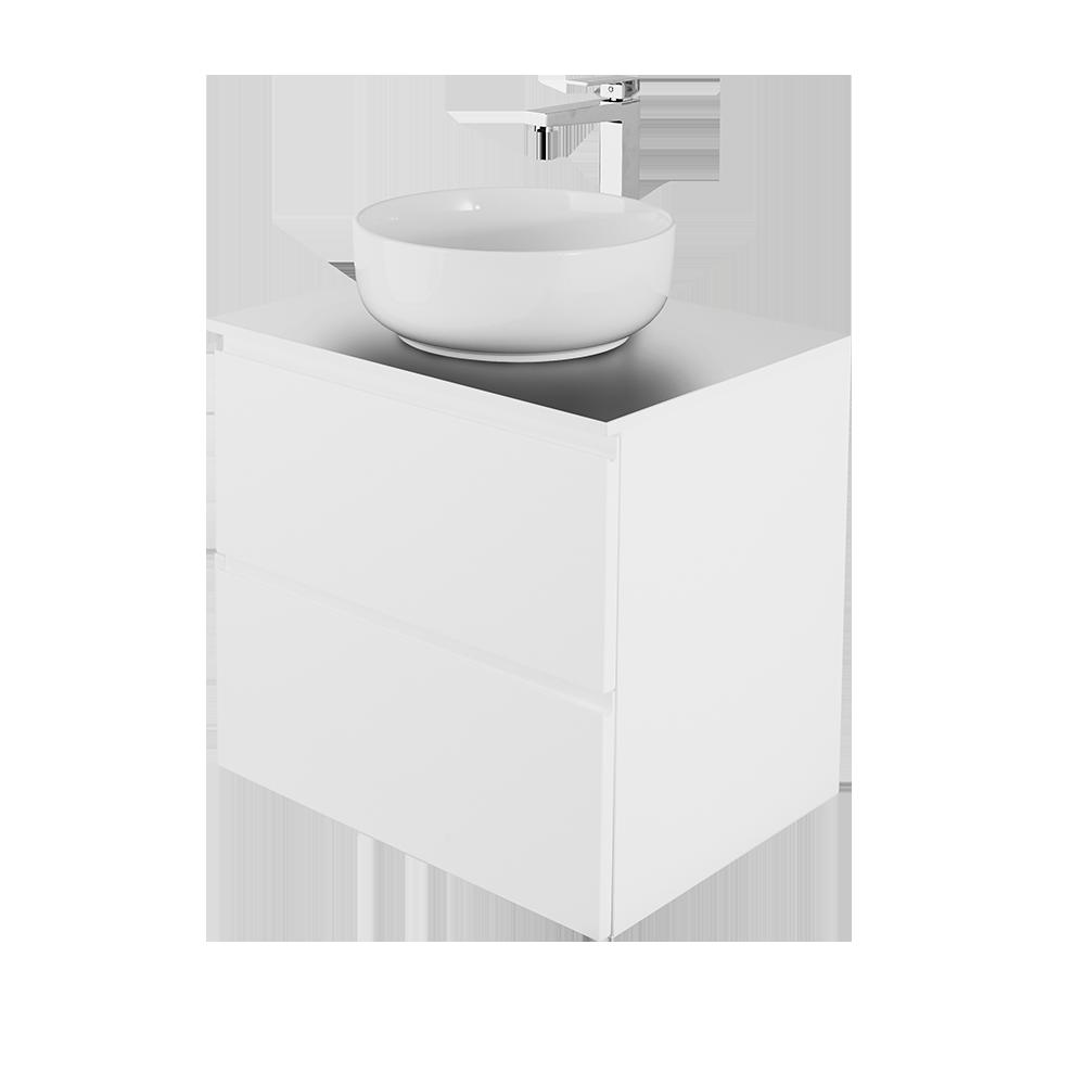 Sara i Hvit 60cm, rund vask i hvit med forkromet vannkran