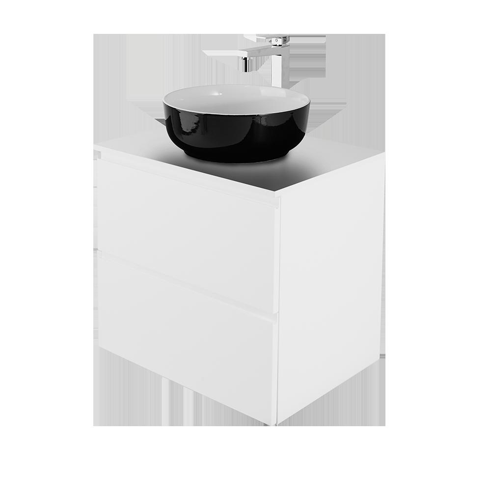 Sara i Hvit 60cm, rund vask i svart med forkromet vannkran
