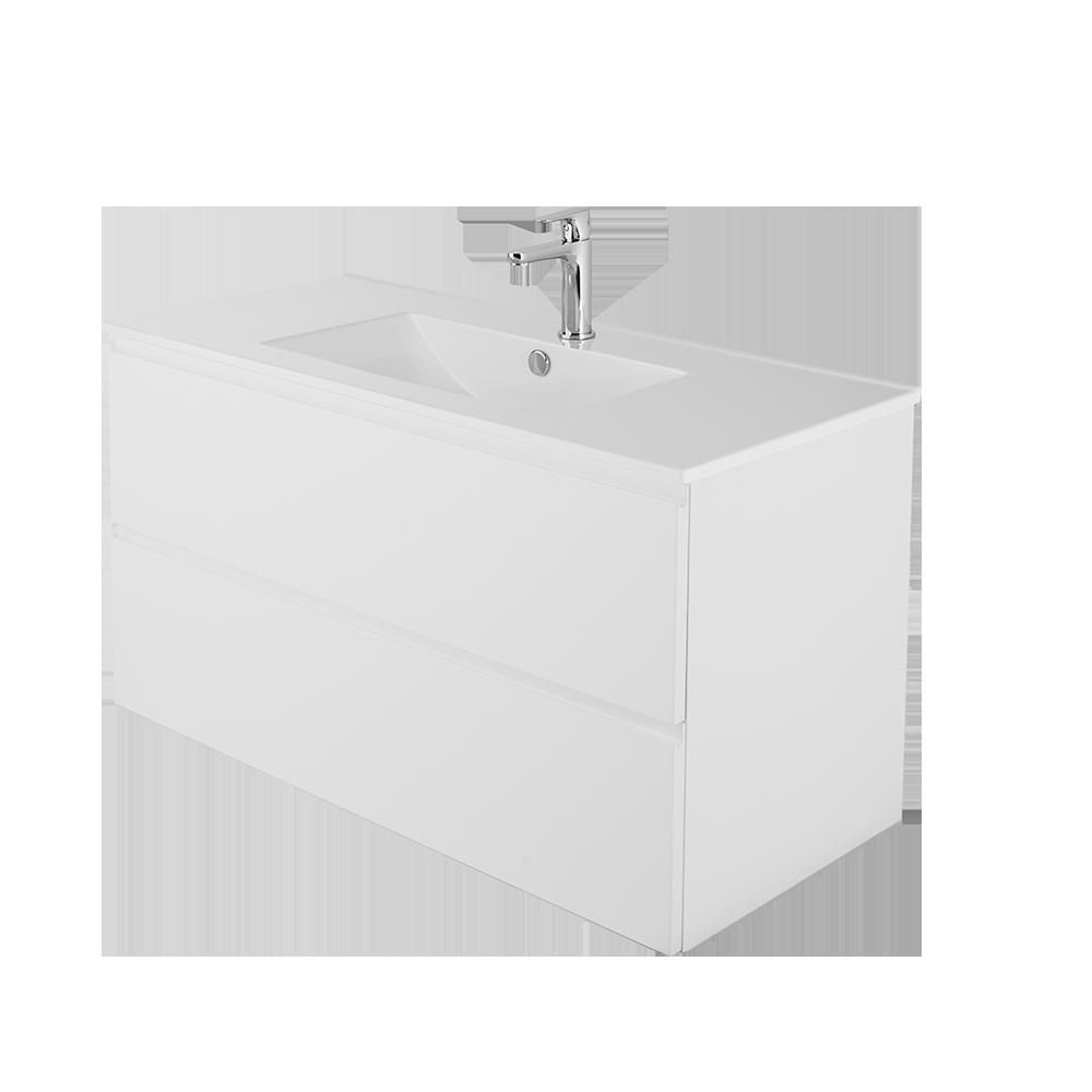 Sara 100cm vask i hvit med forkromet vannkran
