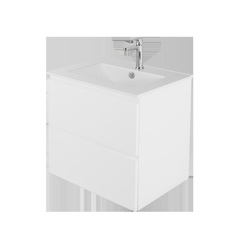 sara 60 cm baderomsmøbel med hvit vask og forkromet kran
